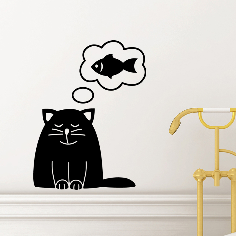 stickers muraux pour salle de bain sticker mural chat et le poisson ambiance. Black Bedroom Furniture Sets. Home Design Ideas