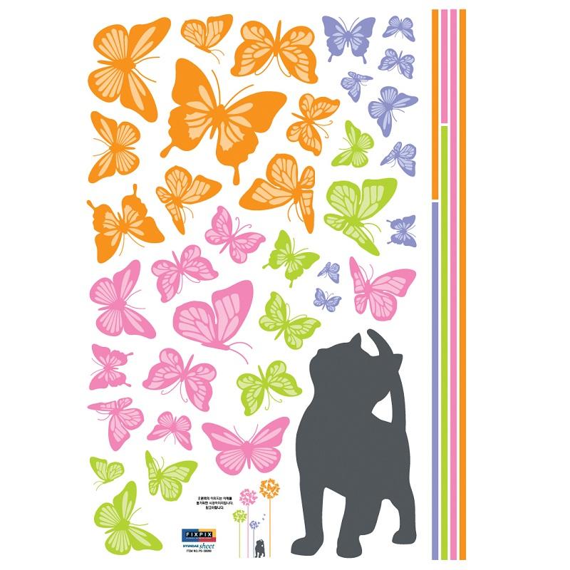 stickers muraux chat et papillons. Black Bedroom Furniture Sets. Home Design Ideas