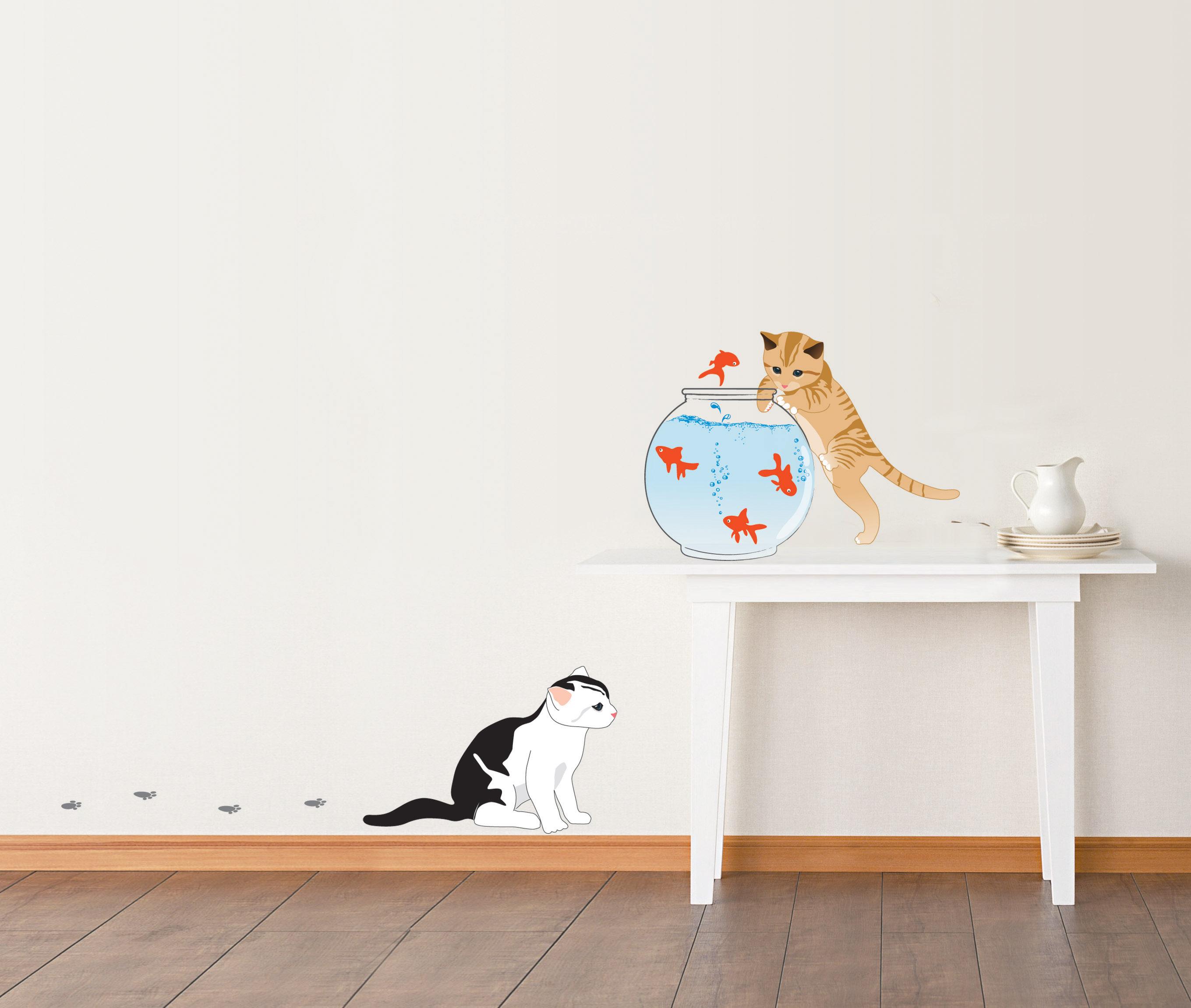 Stickers chats et poissons dans un bocal for Bocal mural poisson