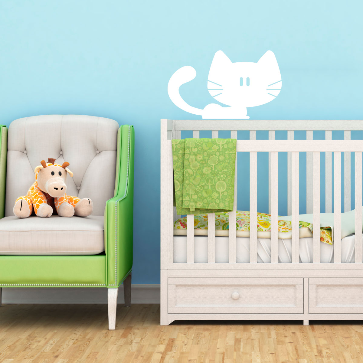 sticker chat mignon stickers salle de jeux animaux ambiance sticker. Black Bedroom Furniture Sets. Home Design Ideas