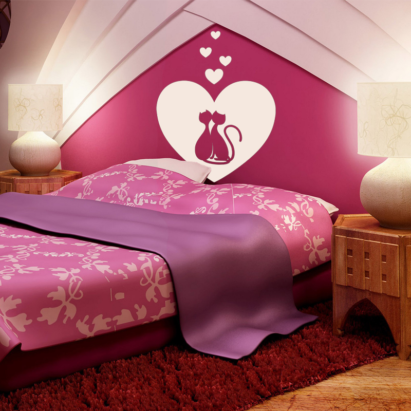 Stickers muraux pour chambre sticker mural chats for Chambre amoureux