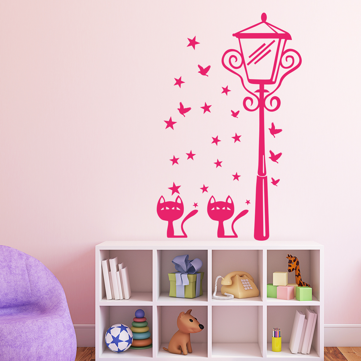 sticker chats toiles papillons et lampadaire stickers chambre enfants chambre b b. Black Bedroom Furniture Sets. Home Design Ideas