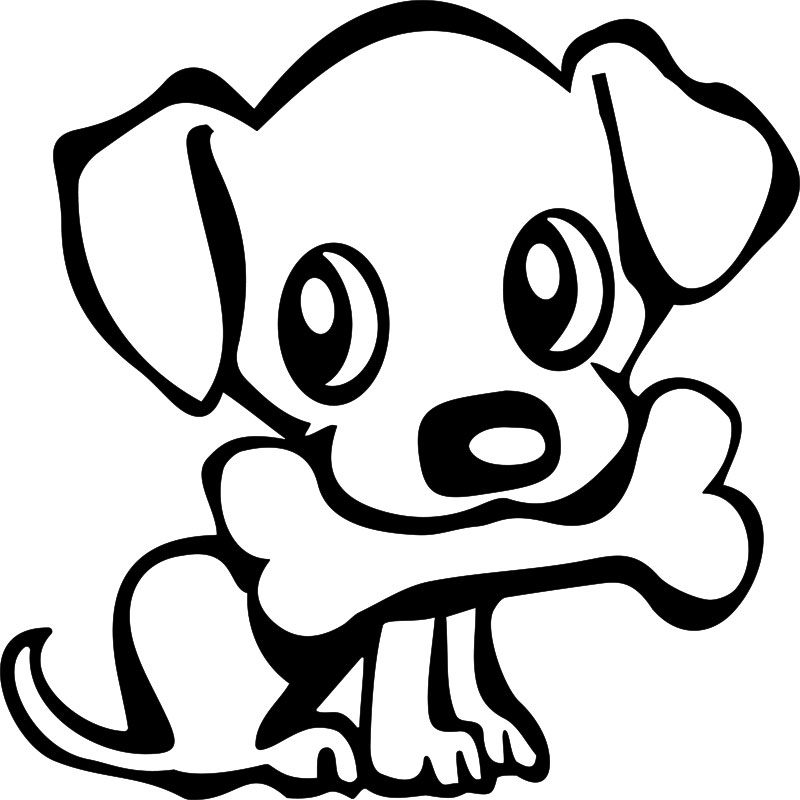 Sticker chiot avec un os stickers animaux chiens ambiance sticker - Chiot a colorier ...