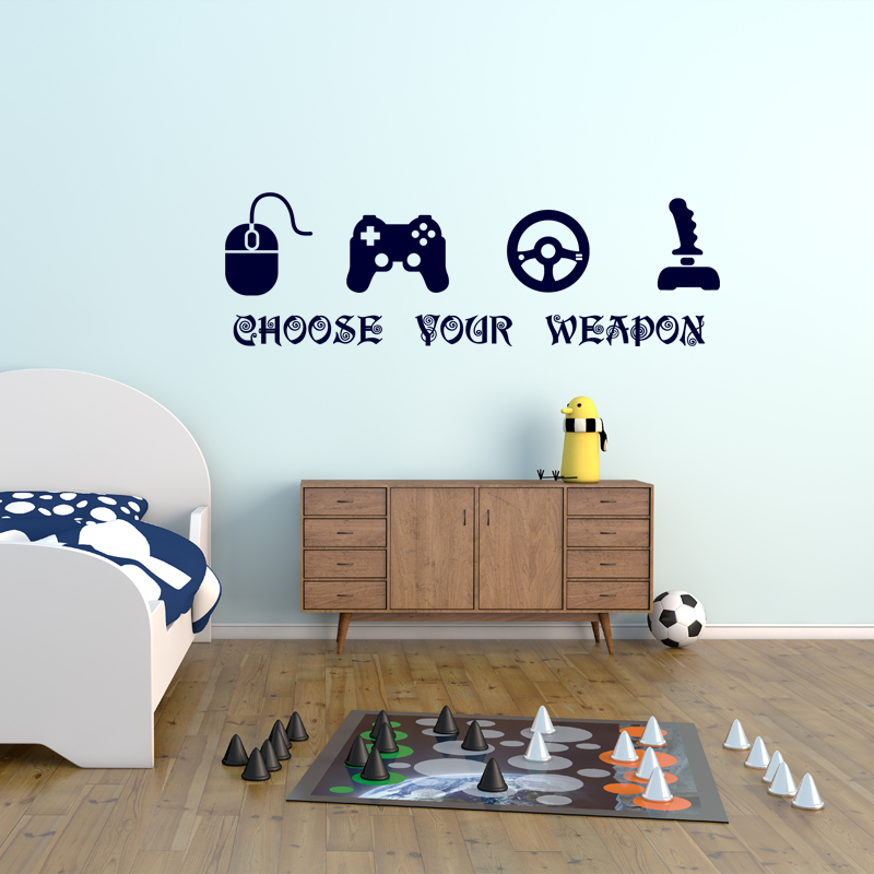Sticker choose your weapon stickers chambre ado gar on for Stickers pour chambre ado garcon