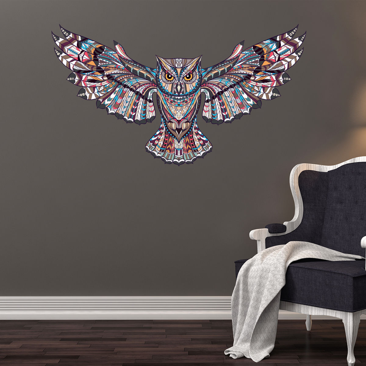 sticker chouette multicolore design stickers animaux oiseaux ambiance sticker. Black Bedroom Furniture Sets. Home Design Ideas