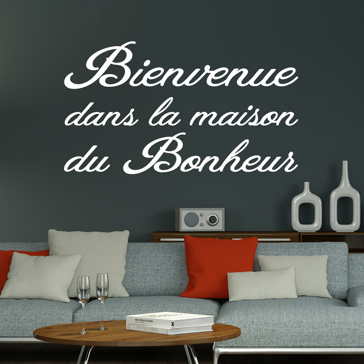 sticker citation bienvenue dans la maison du bonheur stickers citations fran ais ambiance. Black Bedroom Furniture Sets. Home Design Ideas