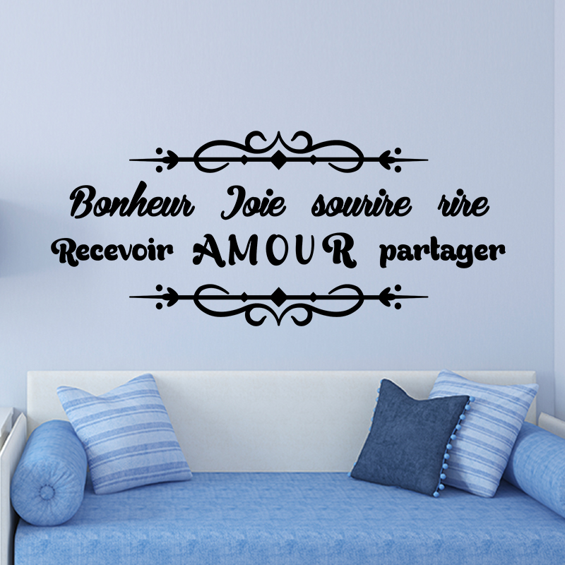 sticker citation bonheur joie sourire rire amour stickers citations bonheur ambiance sticker. Black Bedroom Furniture Sets. Home Design Ideas