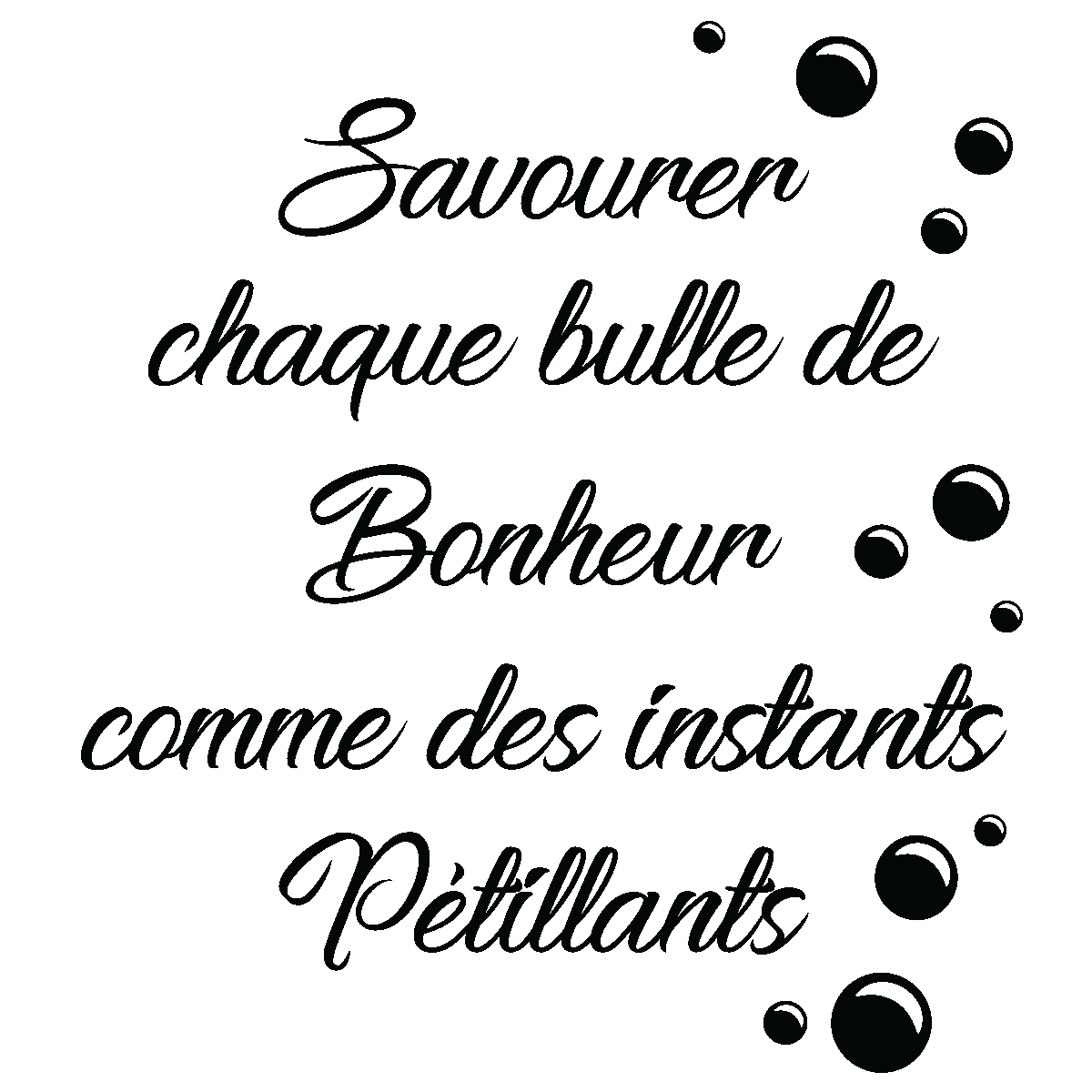 sticker citation bulle de bonheur stickers citations fran ais ambiance sticker. Black Bedroom Furniture Sets. Home Design Ideas