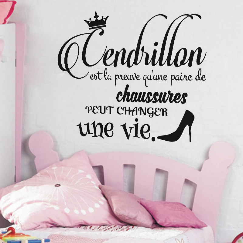 Sticker citation cendrillon stickers chambre ado fille for Stickers muraux chambre ado
