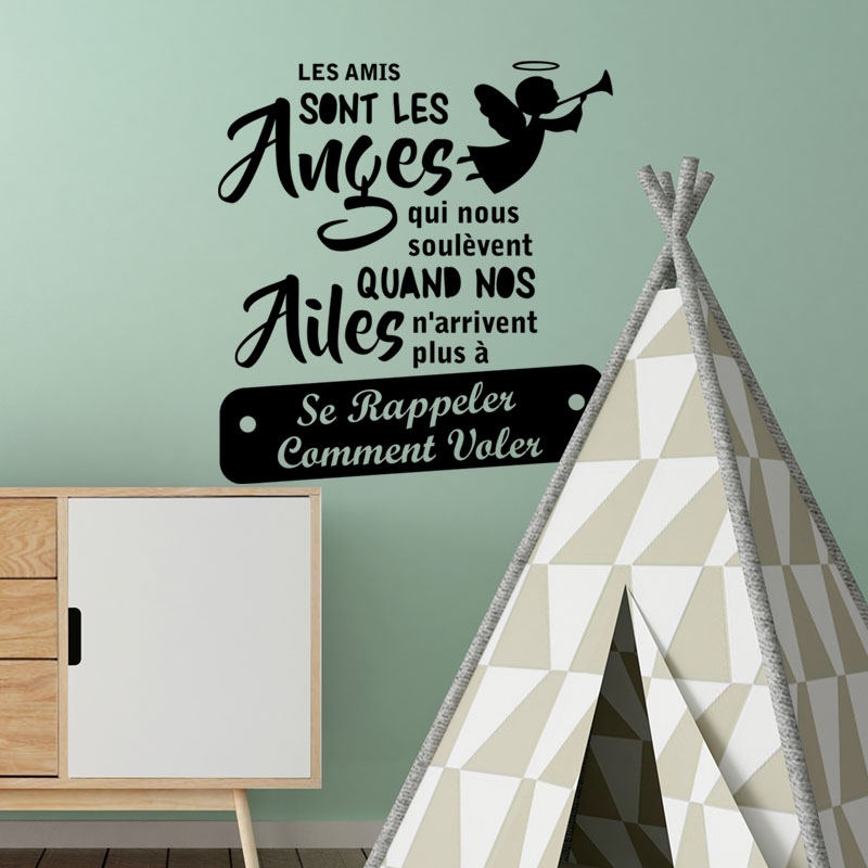 Sticker citation chambre les amis sont les anges for Stickers muraux citations chambre