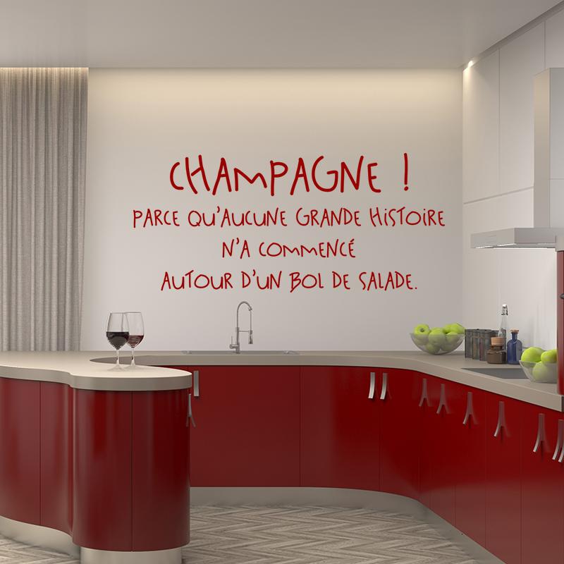 Stickers muraux pour la cuisine sticker citation champagne