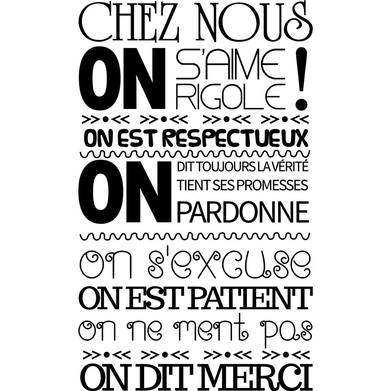 sticker citation chez nous on s 39 aime on rigole stickers citations fran ais ambiance sticker. Black Bedroom Furniture Sets. Home Design Ideas