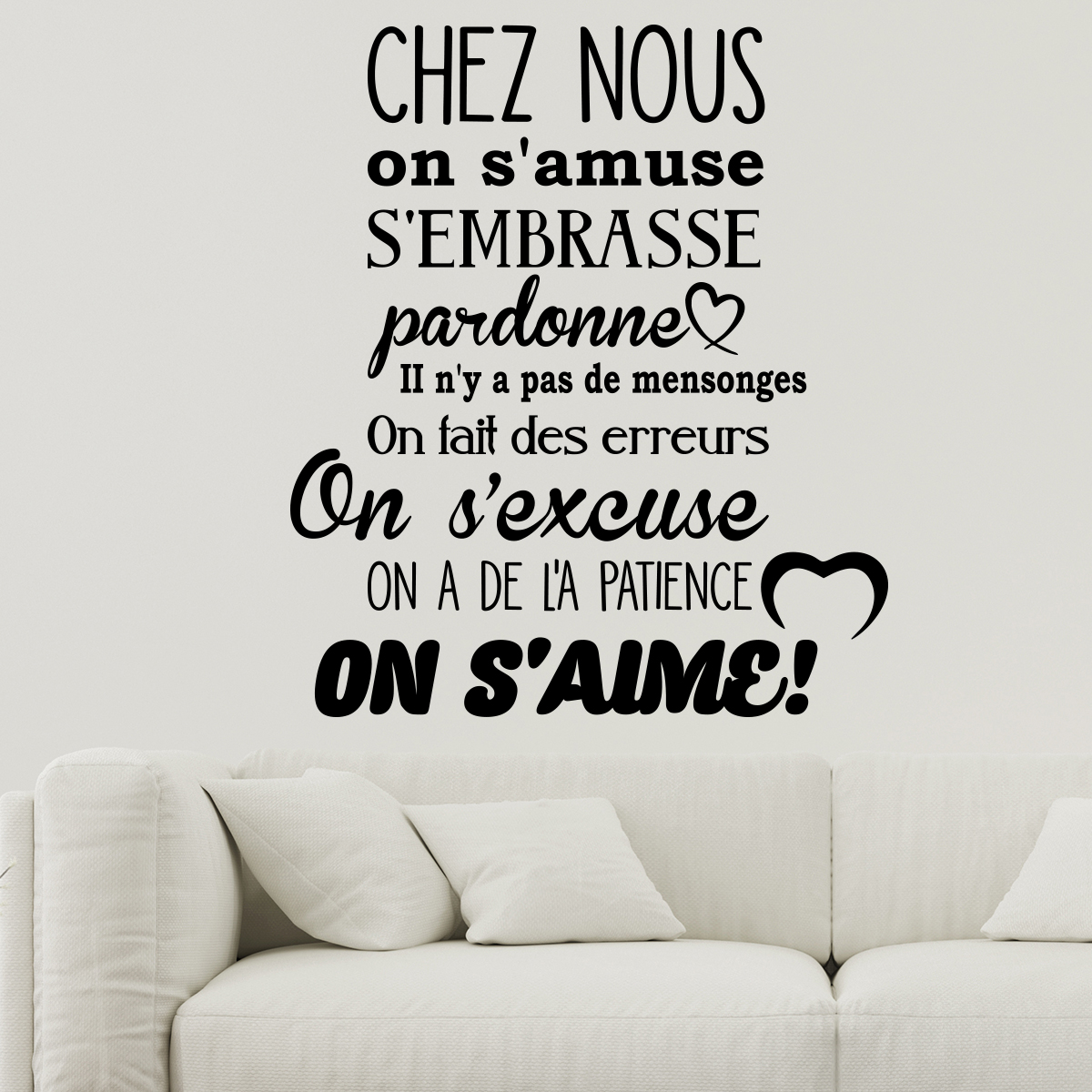 sticker citation chez nous on s 39 amuse s 39 embrasse stickers citations fran ais ambiance sticker. Black Bedroom Furniture Sets. Home Design Ideas