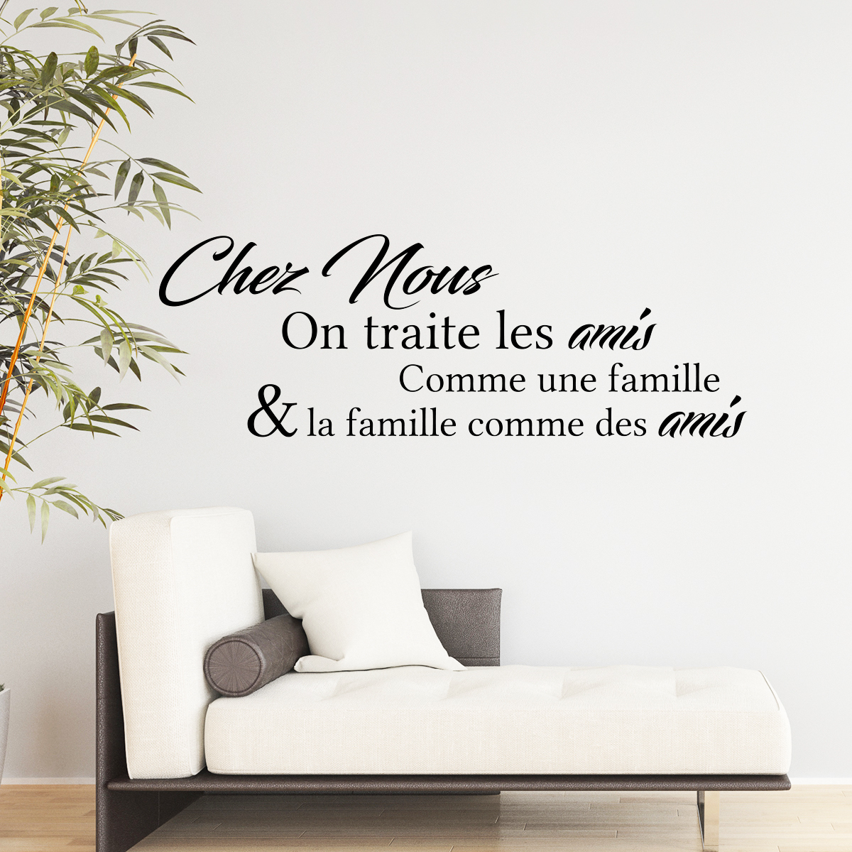 sticker citation chez nous on traite les amis stickers citations fran ais ambiance sticker. Black Bedroom Furniture Sets. Home Design Ideas
