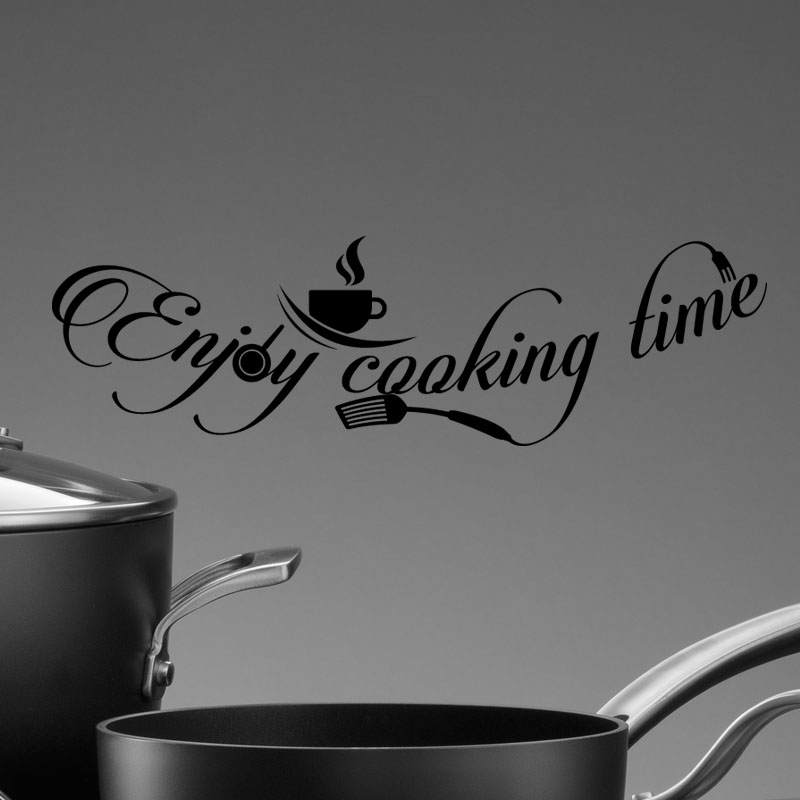 sticker citation cuisine enjoy cooking time stickers citations anglais ambiance sticker. Black Bedroom Furniture Sets. Home Design Ideas