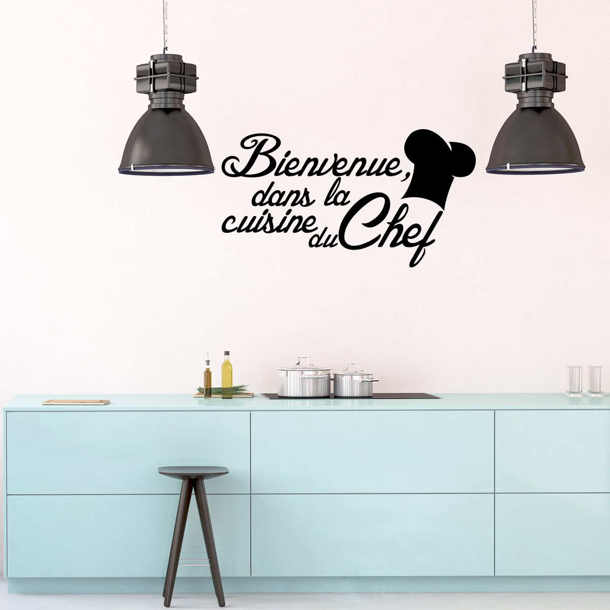 sticker citation cuisine bienvenue dans la cuisine du chef stickers citations fran ais. Black Bedroom Furniture Sets. Home Design Ideas
