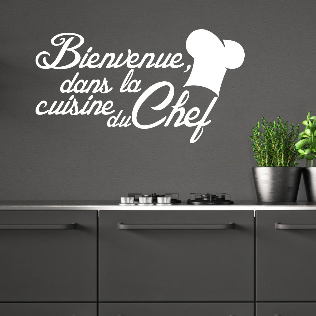 Sticker citation cuisine bienvenue dans la cuisine du chef - Stickers cuisine citation ...