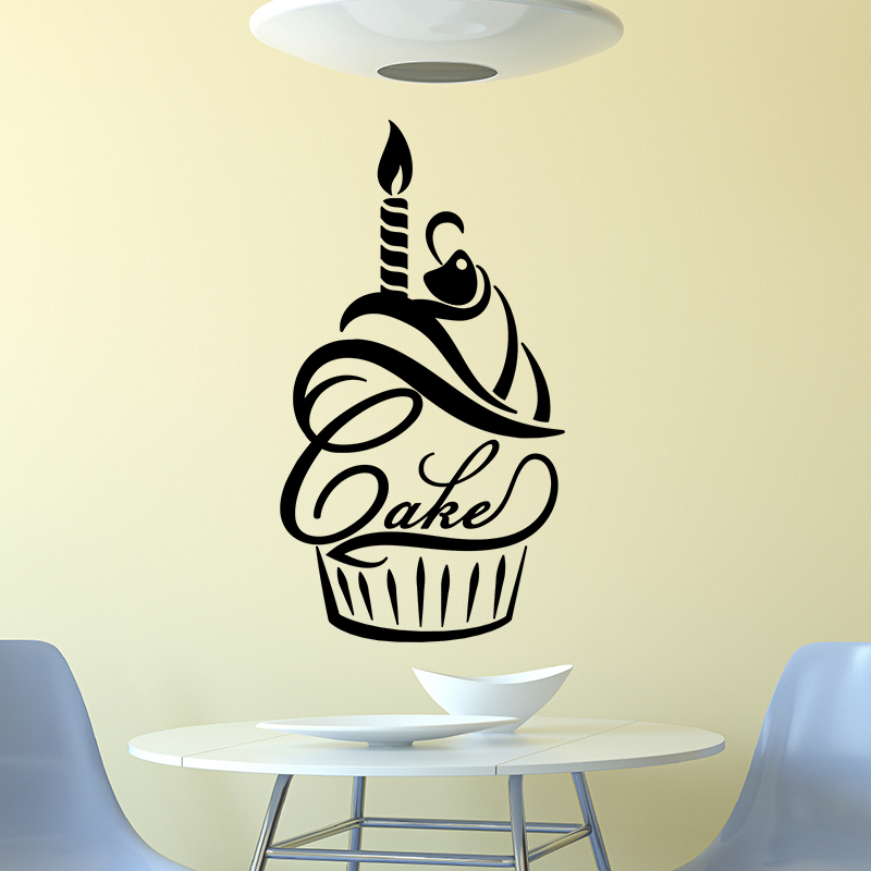 sticker citation cuisine bougie et cerise sur un cupcake stickers cuisine nourriture et fruits. Black Bedroom Furniture Sets. Home Design Ideas