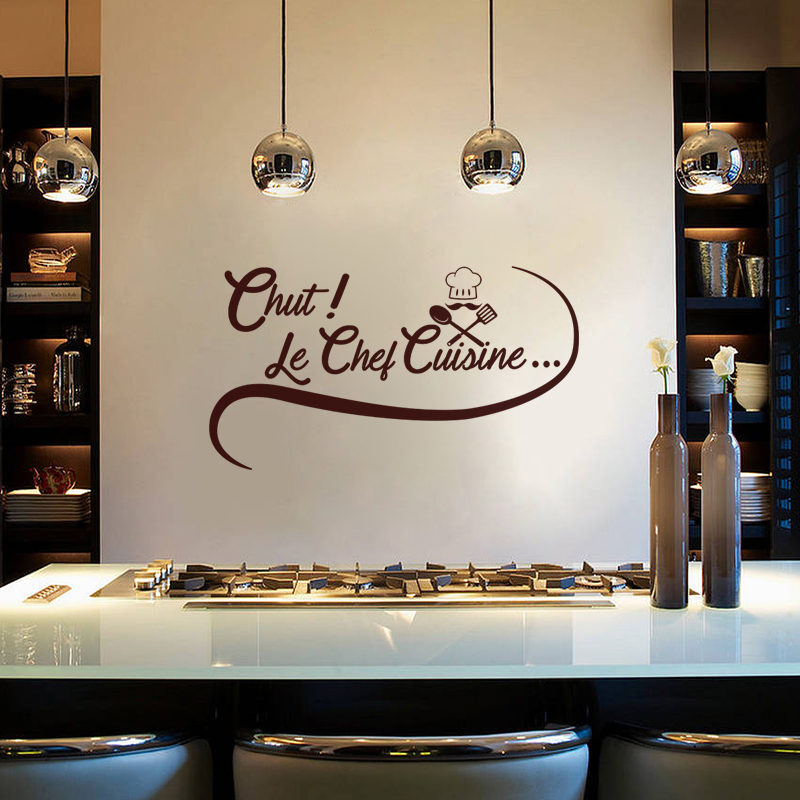 Sticker citation cuisine chut le chef cuisine stickers for Sticker mural cuisine