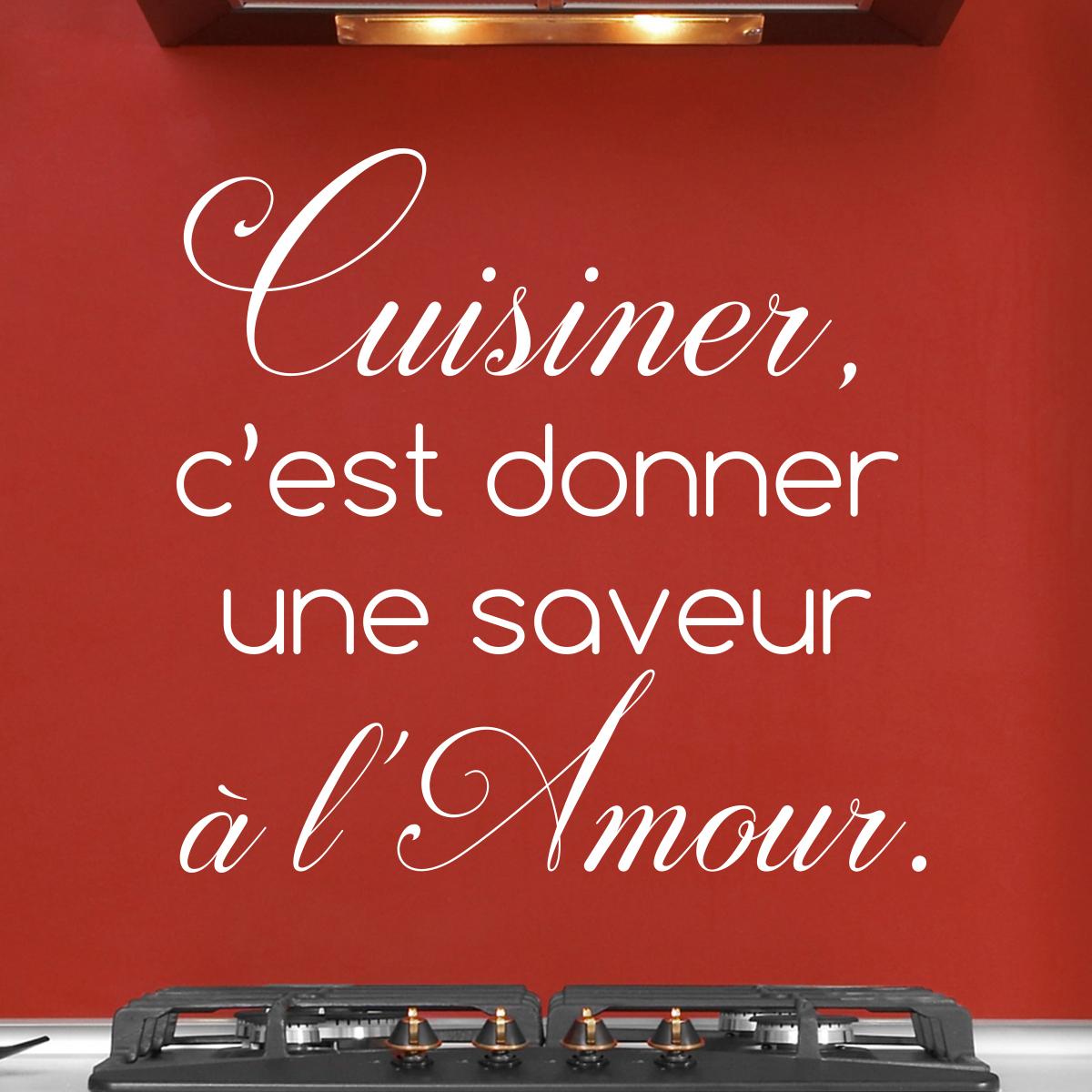 Sticker citation cuisine cuisiner c 39 est donner une saveur - Stickers citations cuisine ...