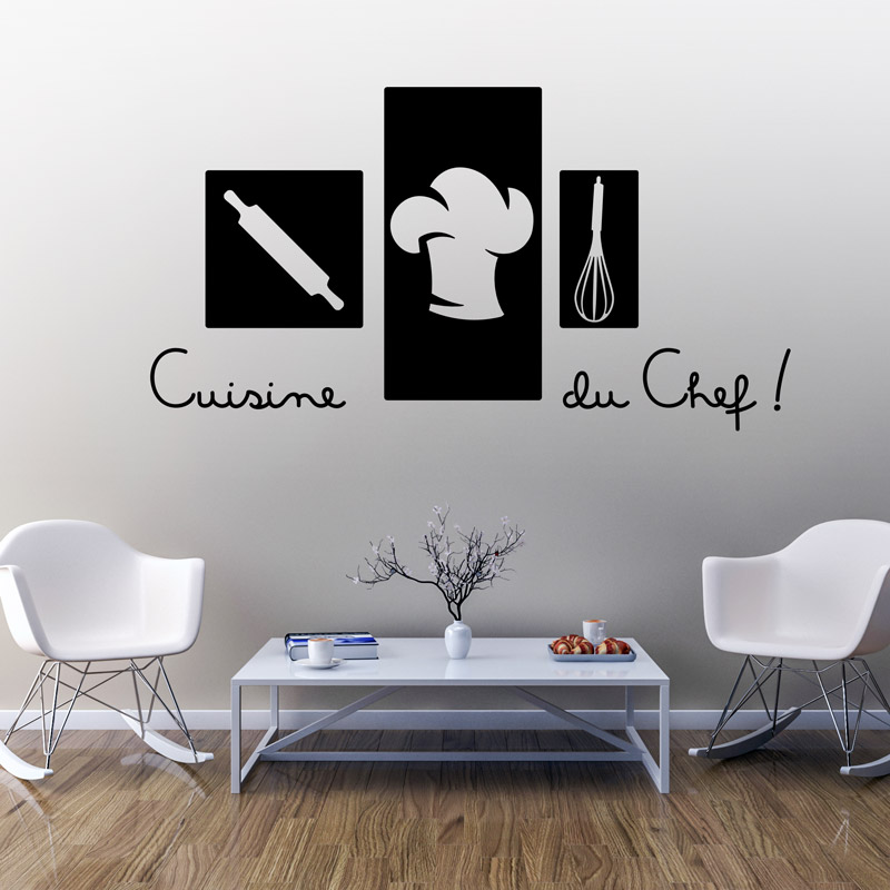 sticker citation cuisine du chef stickers cuisine textes et recettes ambiance sticker. Black Bedroom Furniture Sets. Home Design Ideas