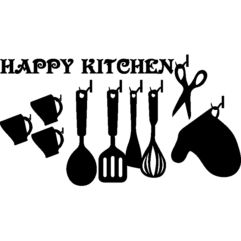 sticker citation cuisine happy kitchen stickers citations anglais ambiance sticker. Black Bedroom Furniture Sets. Home Design Ideas