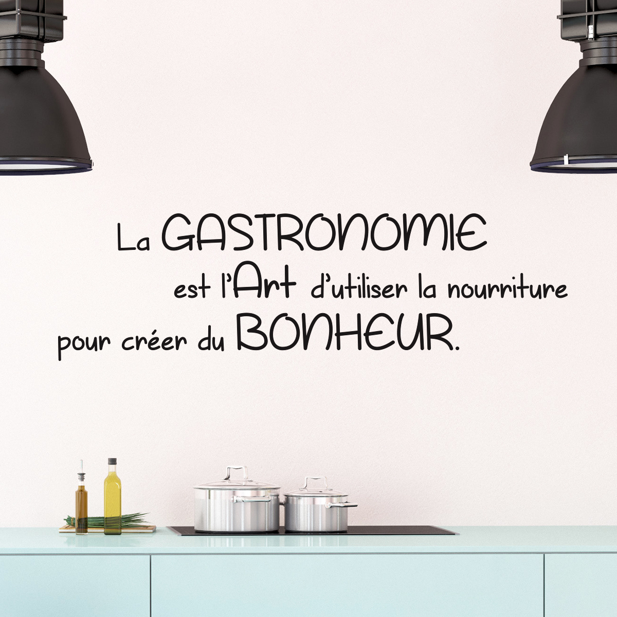 sticker citation cuisine la gastronomie est l 39 art stickers citations fran ais ambiance sticker. Black Bedroom Furniture Sets. Home Design Ideas