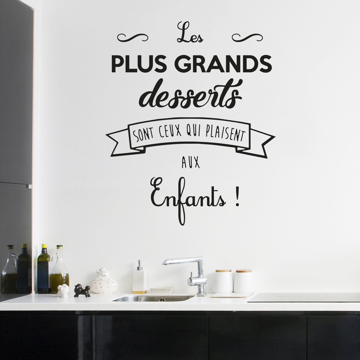 sticker citation cuisine les plus grands desserts stickers citations fran ais ambiance sticker. Black Bedroom Furniture Sets. Home Design Ideas