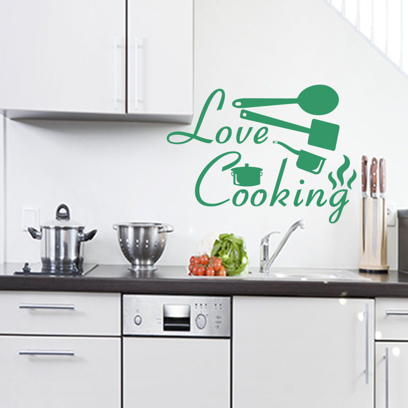 sticker citation cuisine love cooking stickers citations anglais ambiance sticker. Black Bedroom Furniture Sets. Home Design Ideas
