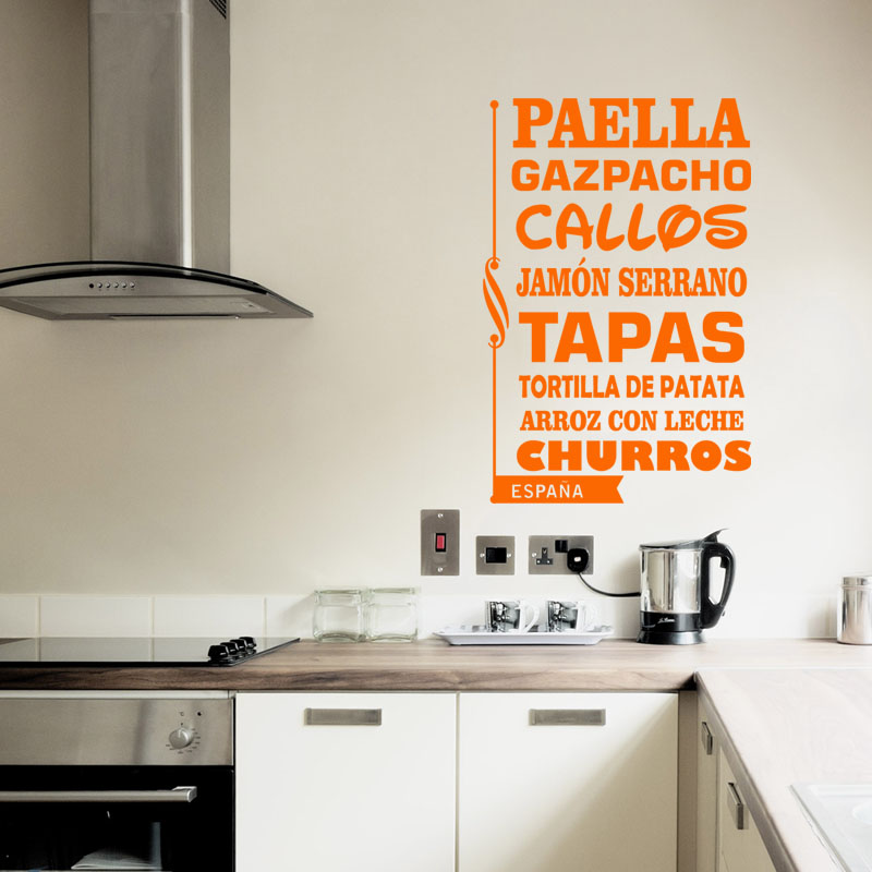 sticker citation cuisine paella gazpacho callos stickers citations espagnol ambiance sticker. Black Bedroom Furniture Sets. Home Design Ideas