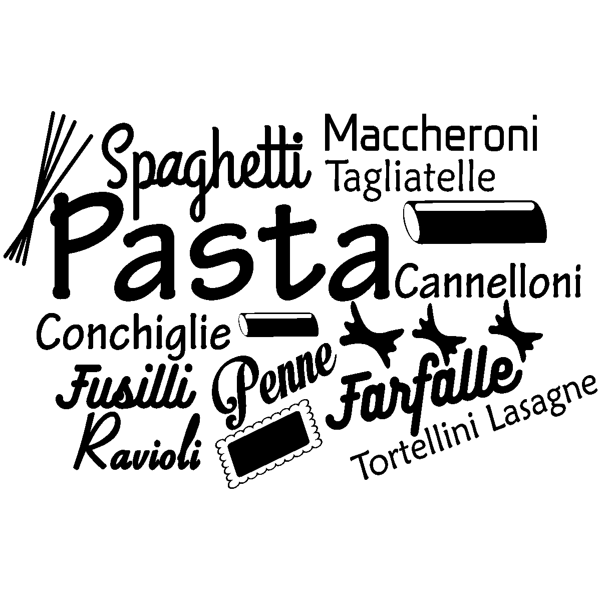 sticker citation cuisine spaghetti maccheroni pasta stickers cuisine nourriture et fruits. Black Bedroom Furniture Sets. Home Design Ideas