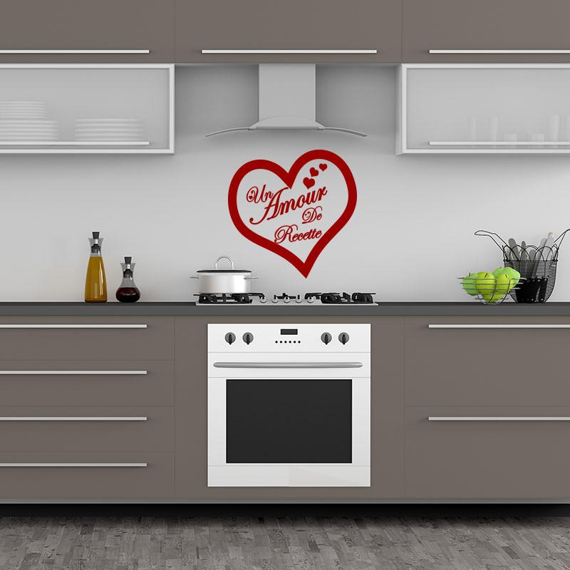 sticker citation cuisine un amour de recette stickers citations fran ais ambiance sticker. Black Bedroom Furniture Sets. Home Design Ideas