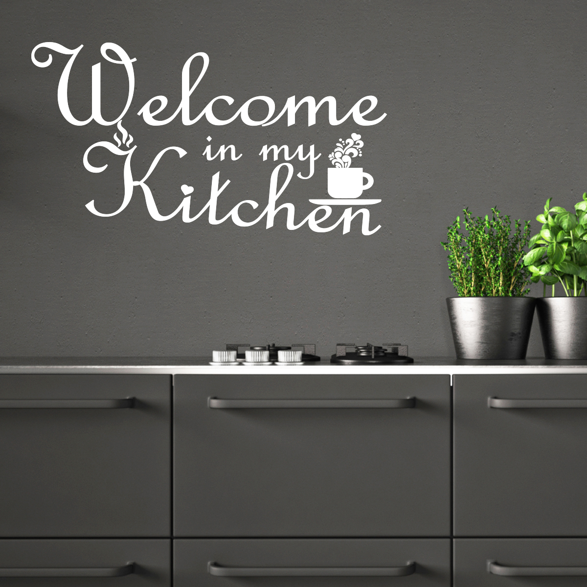 sticker citation cuisine welcome in my kitchen stickers citations anglais ambiance sticker. Black Bedroom Furniture Sets. Home Design Ideas