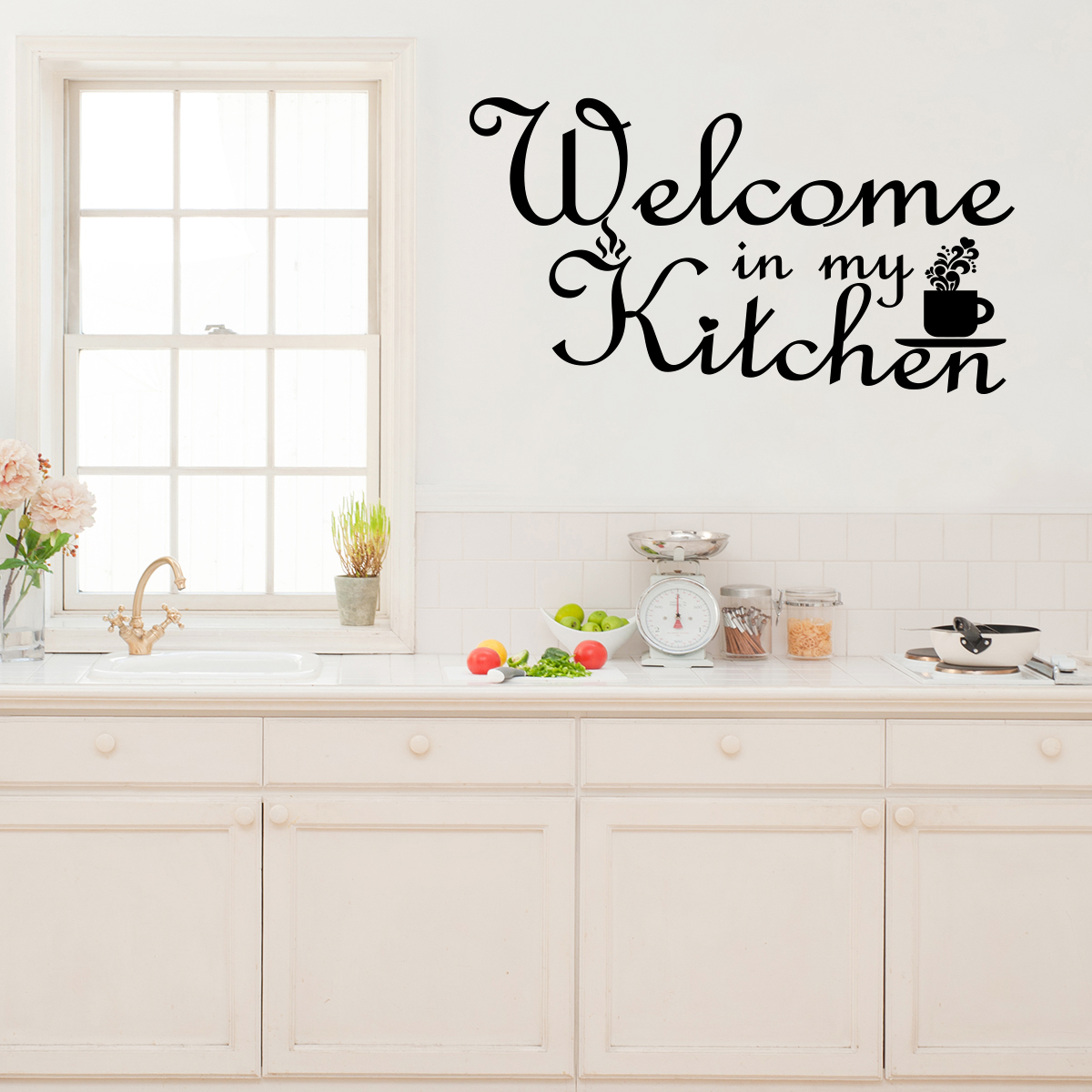 Sticker citation cuisine welcome in my kitchen stickers for Sticker mural cuisine