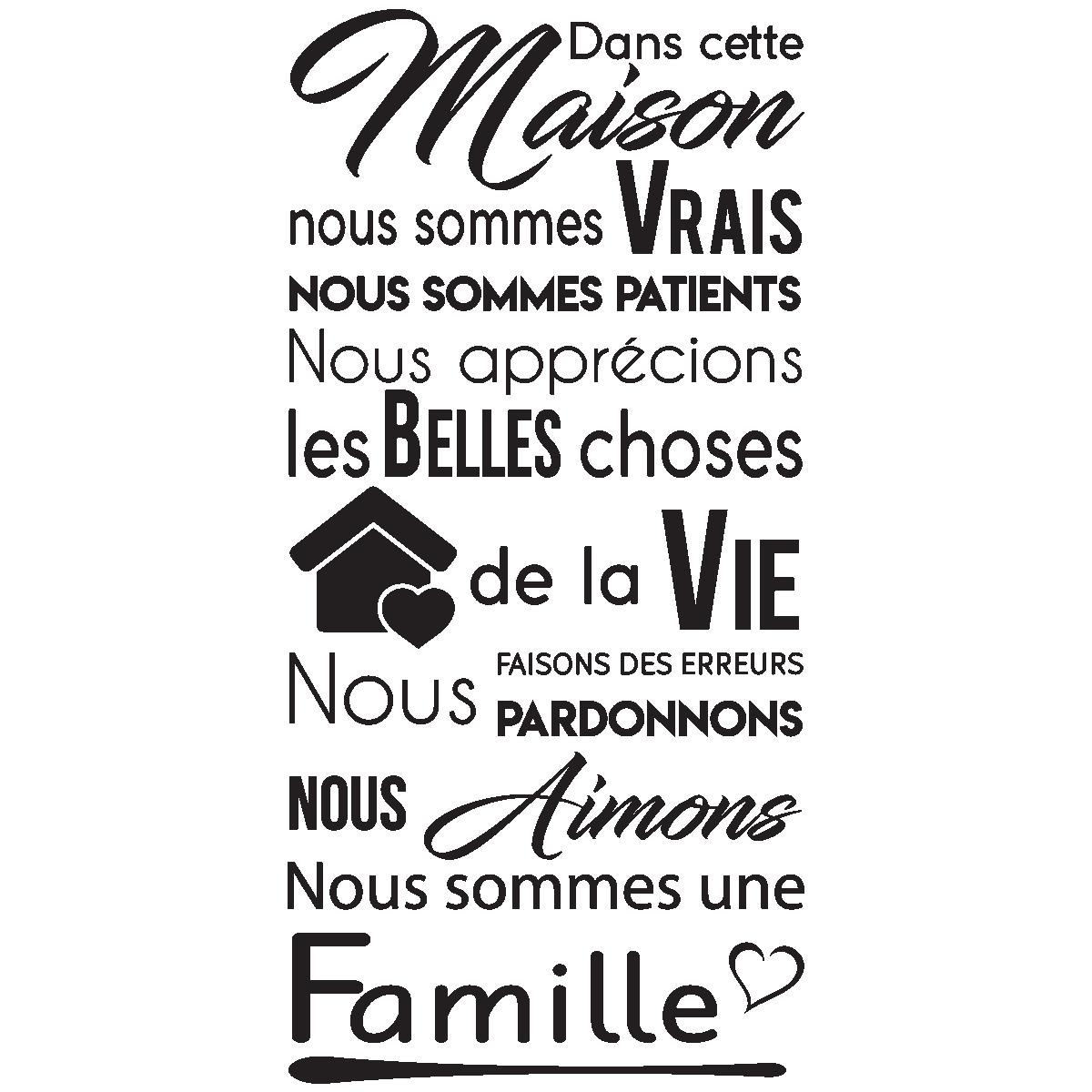 sticker citation dans cette maison nous sommes une famille stickers citations fran ais. Black Bedroom Furniture Sets. Home Design Ideas