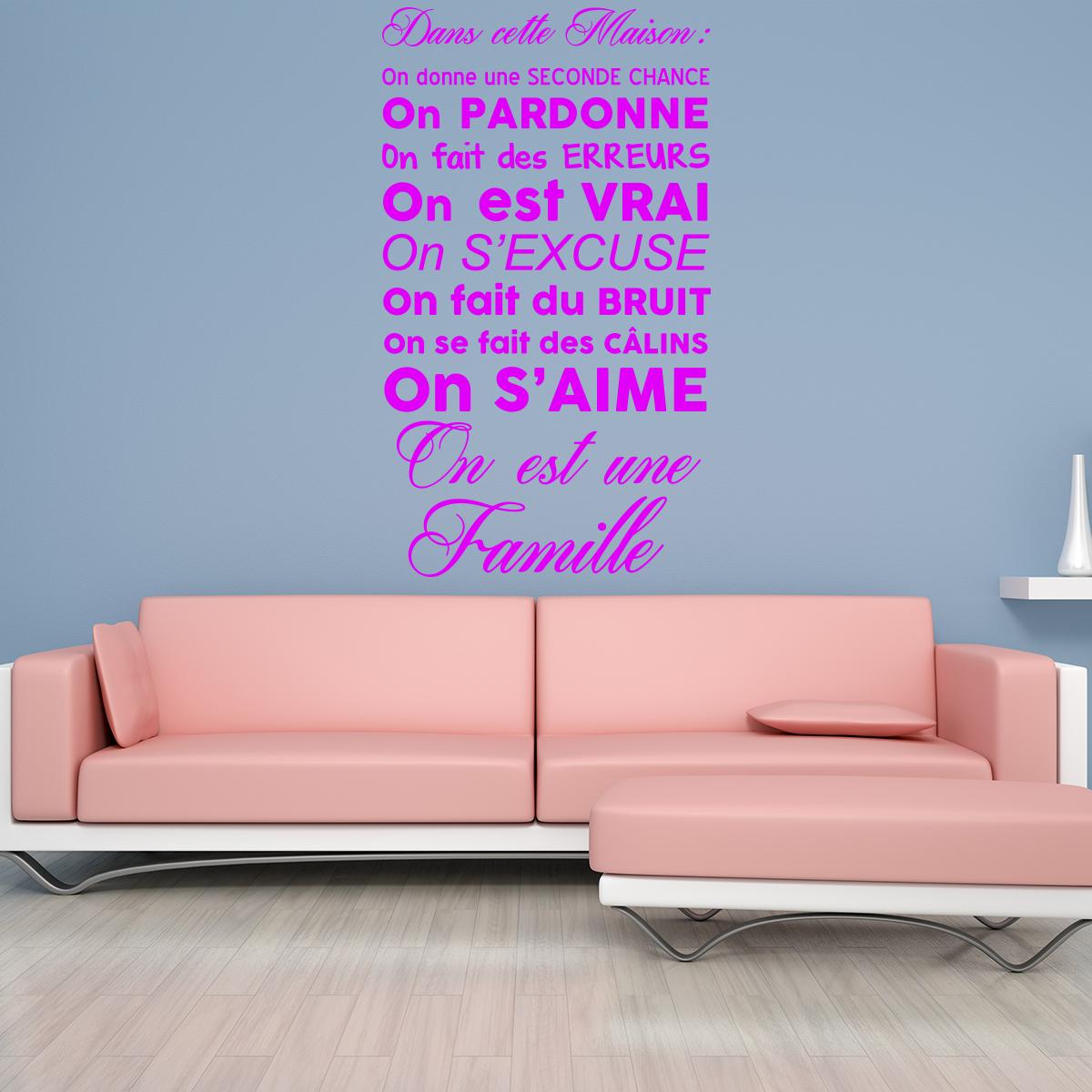sticker citation dans cette maison on est une famille stickers citations fran ais ambiance. Black Bedroom Furniture Sets. Home Design Ideas