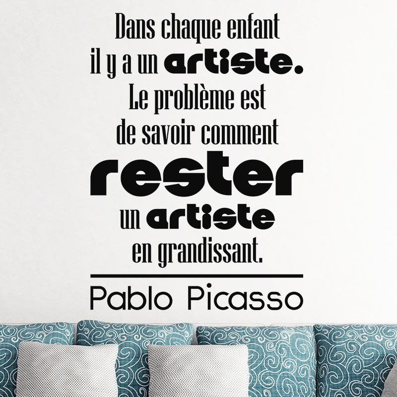 Sticker citation Dans chaque enfant - Pablo Picasso – Stickers ...