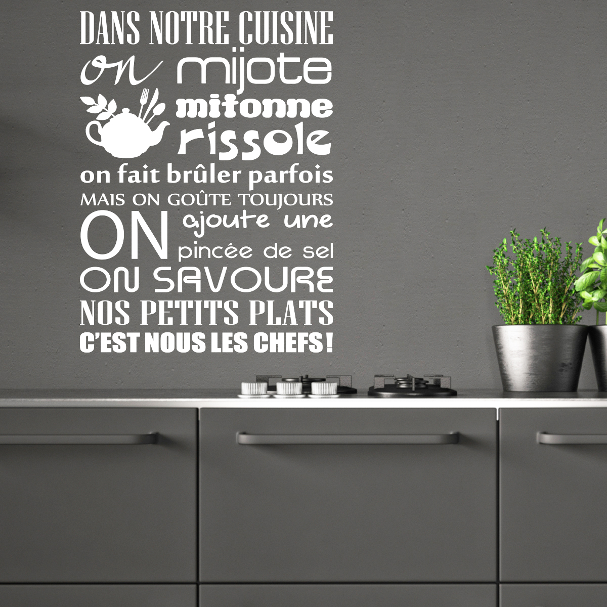 sticker citation dans notre cuisine on mijote stickers citations fran ais ambiance sticker. Black Bedroom Furniture Sets. Home Design Ideas