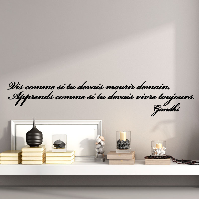 sticker citation de gandhi apprends comme si tu devais vivre toujours stickers citations. Black Bedroom Furniture Sets. Home Design Ideas