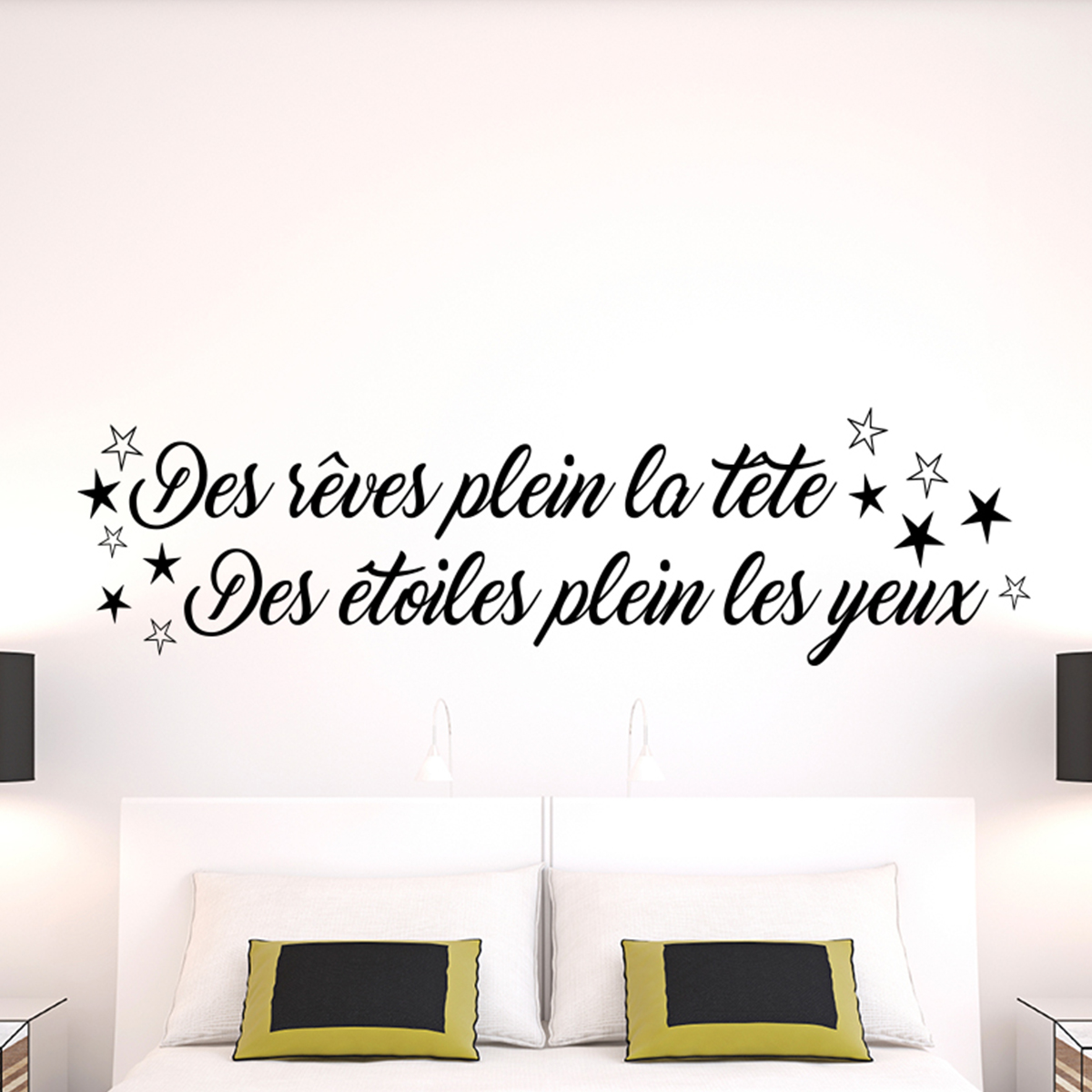 sticker citation des r ves plein la t te stickers citations fran ais ambiance sticker. Black Bedroom Furniture Sets. Home Design Ideas