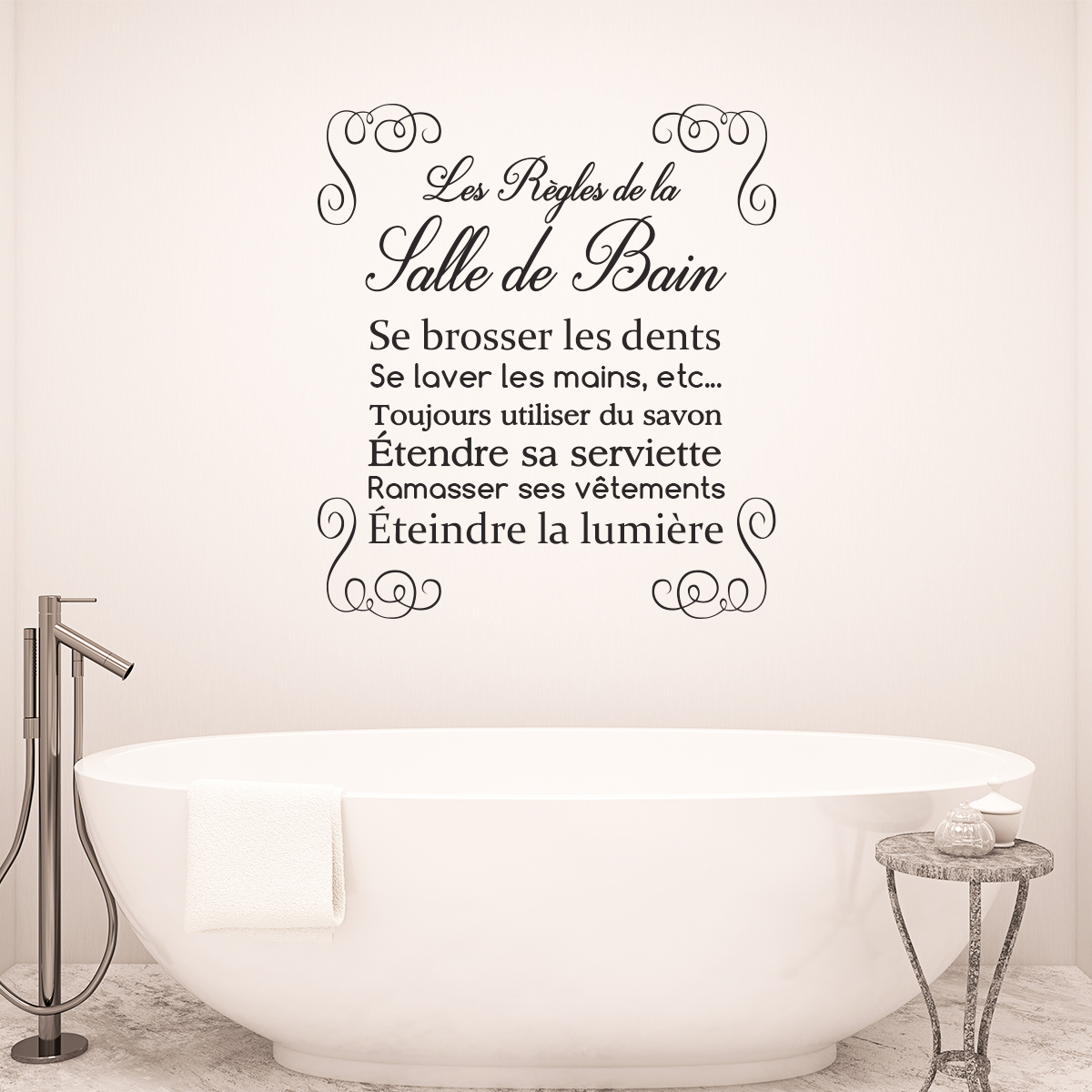 Sticker citation design les r gles de la salle de bain for Citation salle de bain