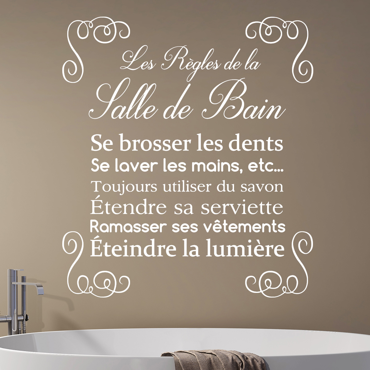 Sticker Citation Design Les R Gles De La Salle De Bain Stickers