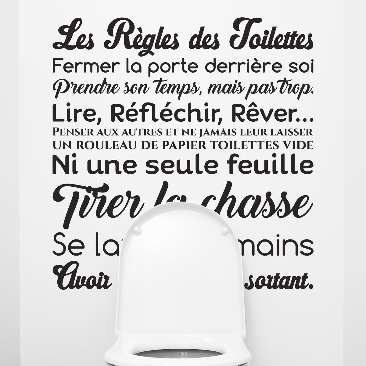 Sticker Citation Design Les R Gles Des Toilettes