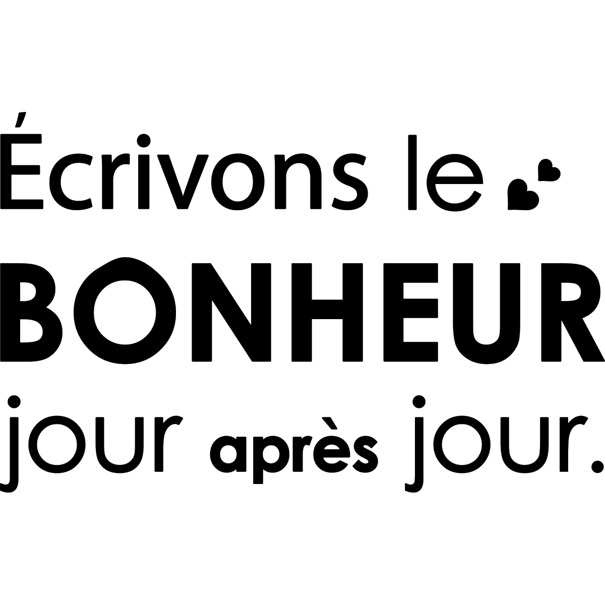 sticker citation ecrivons le bonheur jour apr s jour stickers citations fran ais ambiance. Black Bedroom Furniture Sets. Home Design Ideas