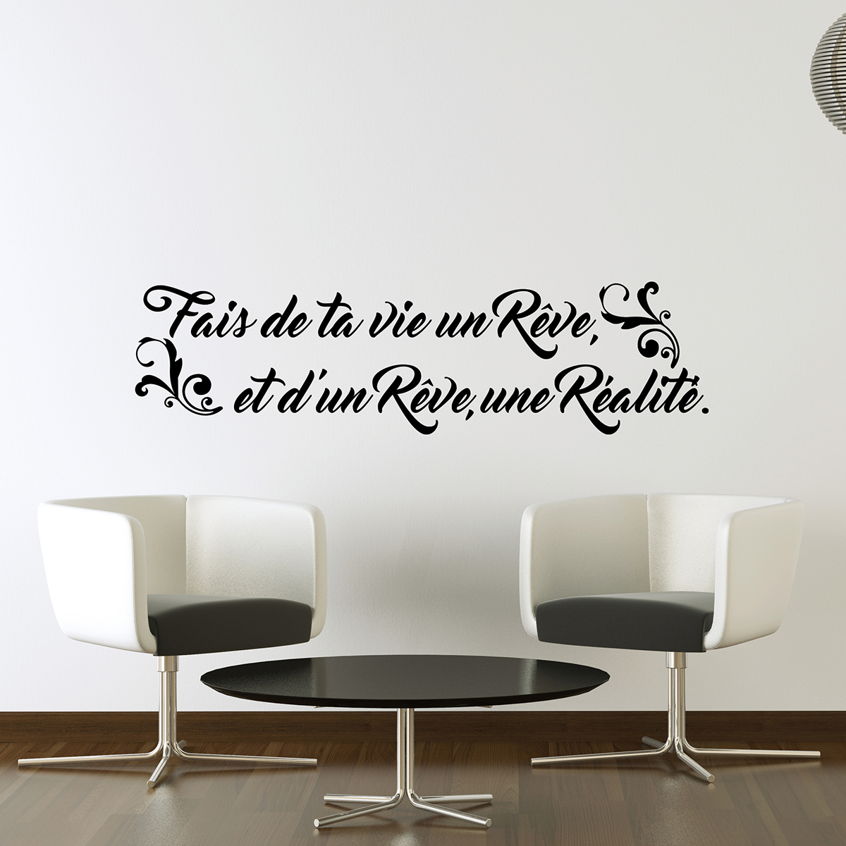 sticker citation fais de ta vie un r ve stickers. Black Bedroom Furniture Sets. Home Design Ideas
