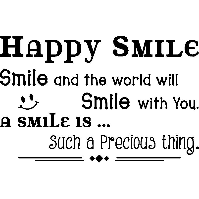 sticker citation happy smile stickers citations anglais. Black Bedroom Furniture Sets. Home Design Ideas