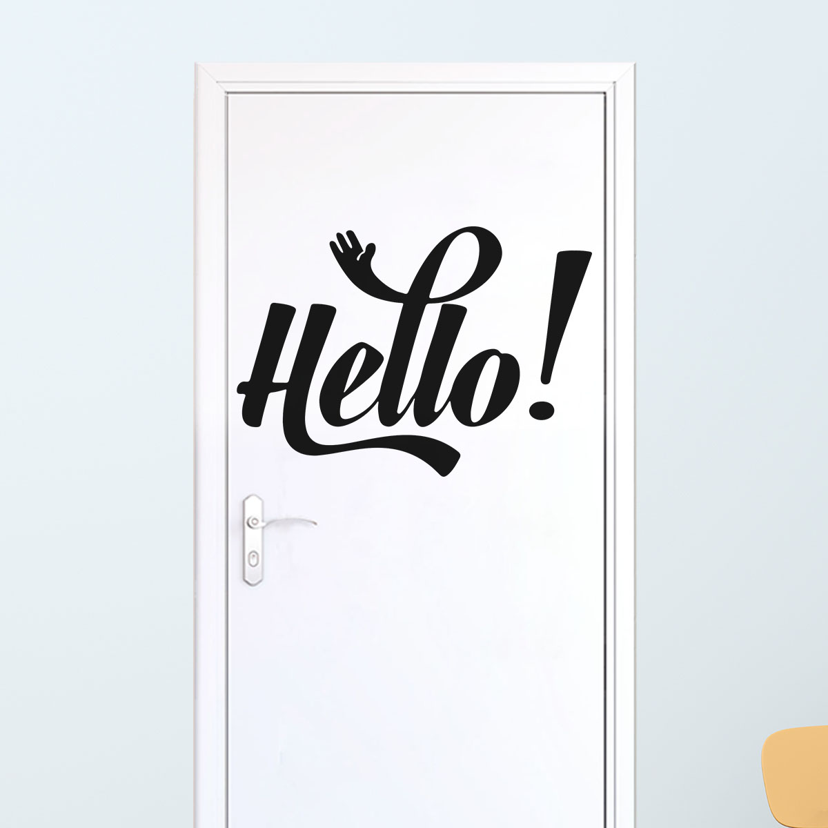 sticker citation hello stickers portes chambre. Black Bedroom Furniture Sets. Home Design Ideas