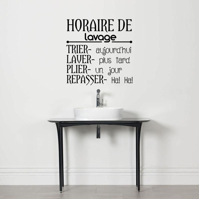 sticker citation horaire de lavage stickers portes buanderie ambiance sticker. Black Bedroom Furniture Sets. Home Design Ideas