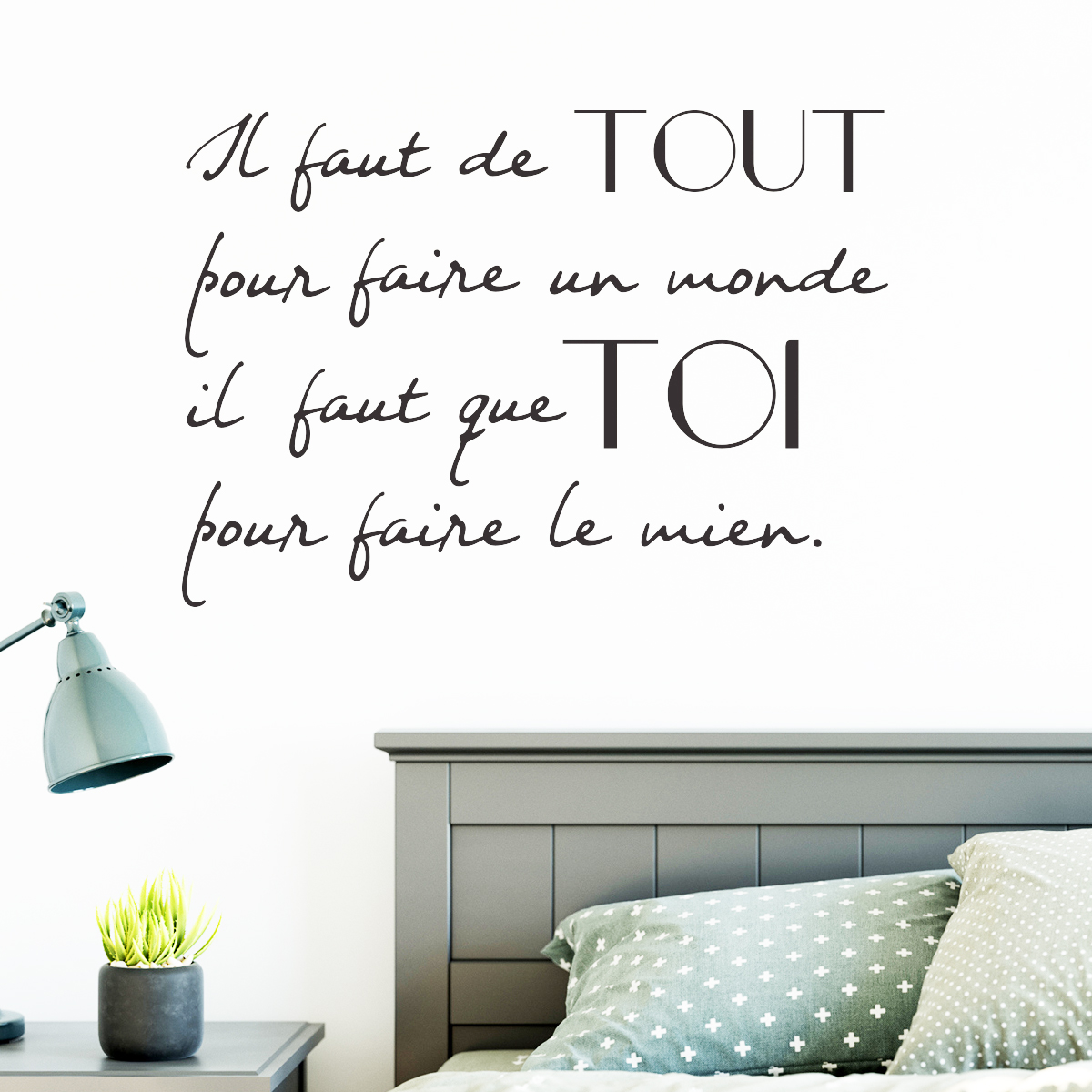 sticker citation il faut de tout stickers citations. Black Bedroom Furniture Sets. Home Design Ideas