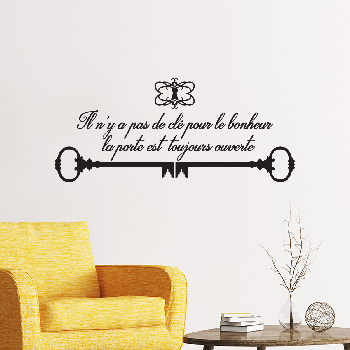 sticker citation il n 39 y a pas de cl pour le bonheur. Black Bedroom Furniture Sets. Home Design Ideas
